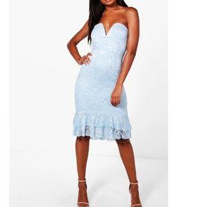 Lace Bandeau Frill Hem Midi Dress